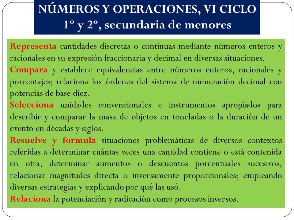 NÚMEROS Y OPERACIONES, VI CICLO 1º y 2º, secundaria de menores