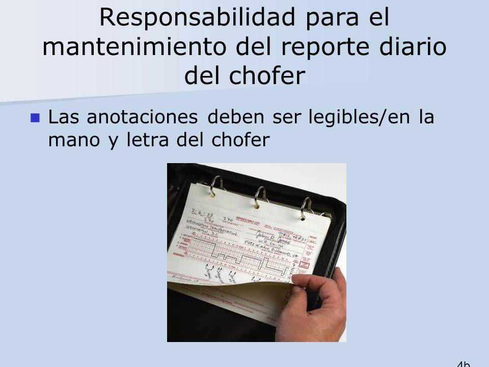 Responsabilidad para el mantenimiento del reporte diario del chofer