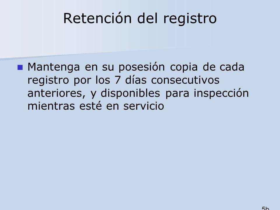Retención del registro