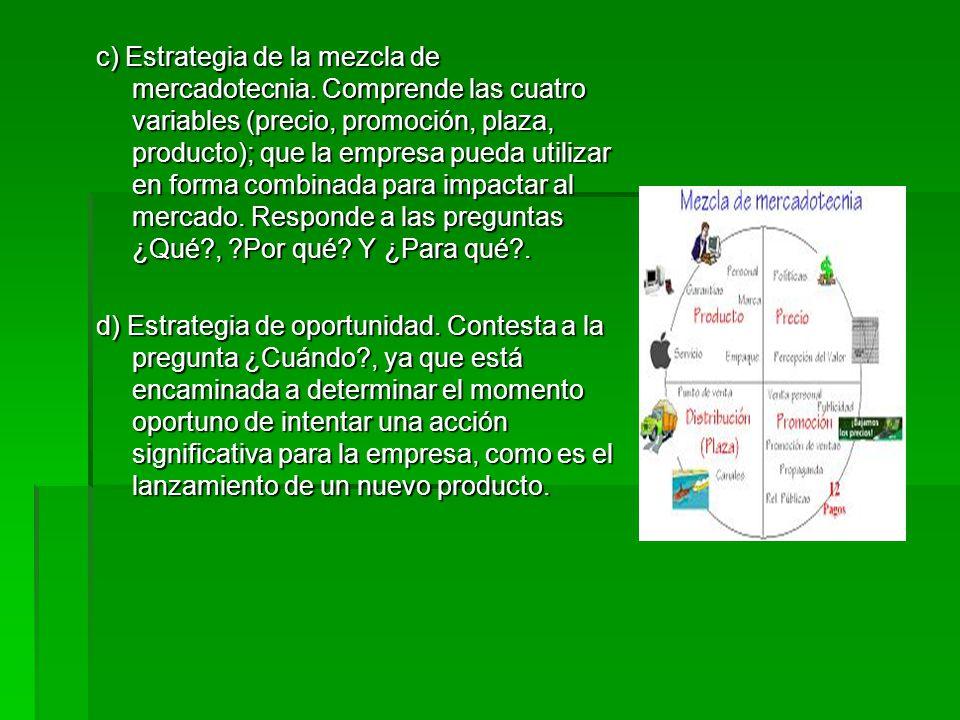 c) Estrategia de la mezcla de mercadotecnia