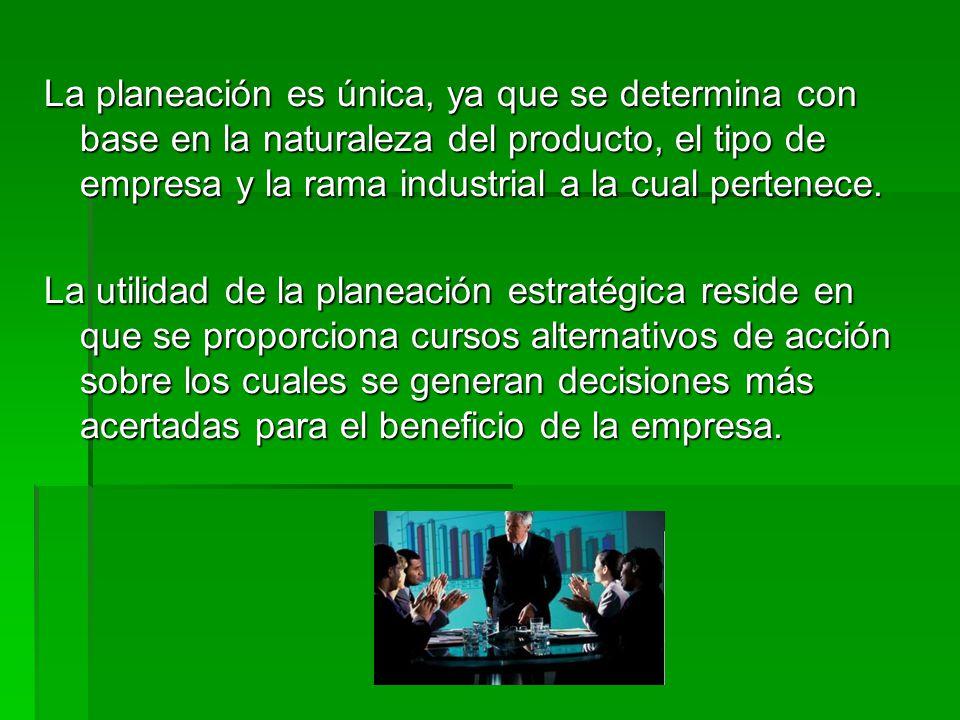 La planeación es única, ya que se determina con base en la naturaleza del producto, el tipo de empresa y la rama industrial a la cual pertenece.