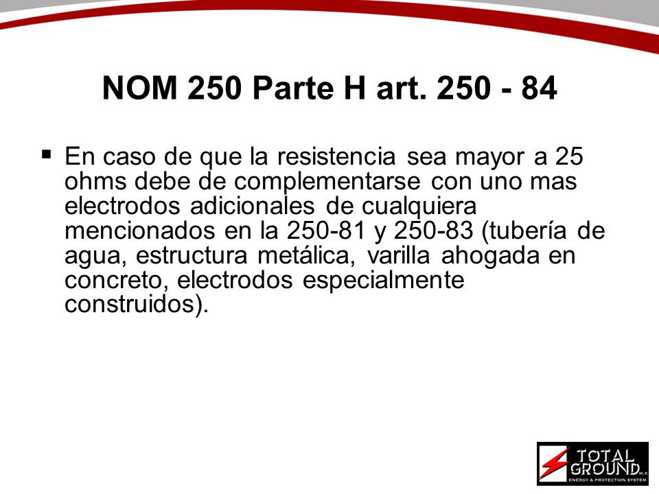 NOM 250 Parte H art. 250 - 84