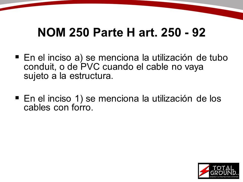 NOM 250 Parte H art. 250 - 92 En el inciso a) se menciona la utilización de tubo conduit, o de PVC cuando el cable no vaya sujeto a la estructura.