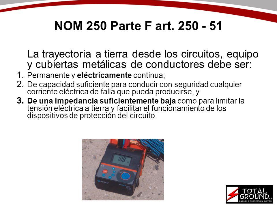 NOM 250 Parte F art. 250 - 51 La trayectoria a tierra desde los circuitos, equipo y cubiertas metálicas de conductores debe ser: