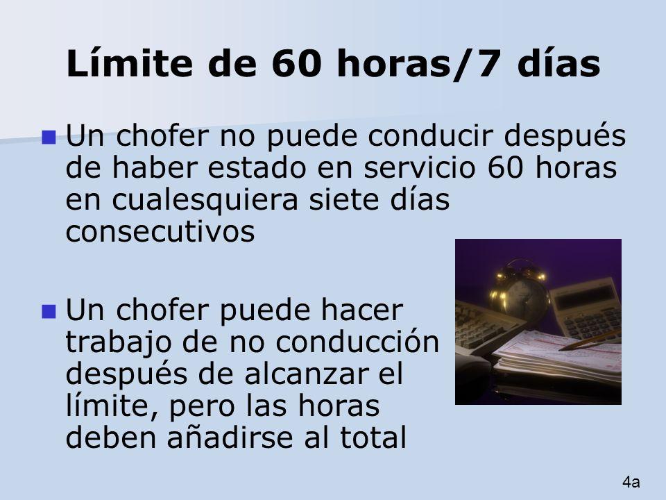 Límite de 60 horas/7 días Un chofer no puede conducir después de haber estado en servicio 60 horas en cualesquiera siete días consecutivos.