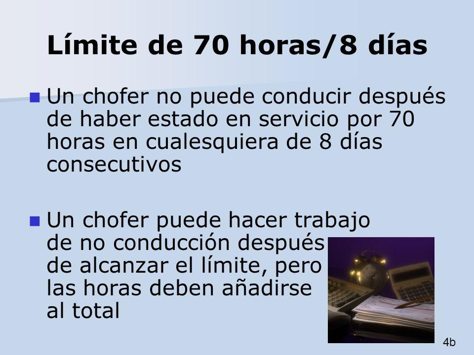 Límite de 70 horas/8 días Un chofer no puede conducir después de haber estado en servicio por 70 horas en cualesquiera de 8 días consecutivos.