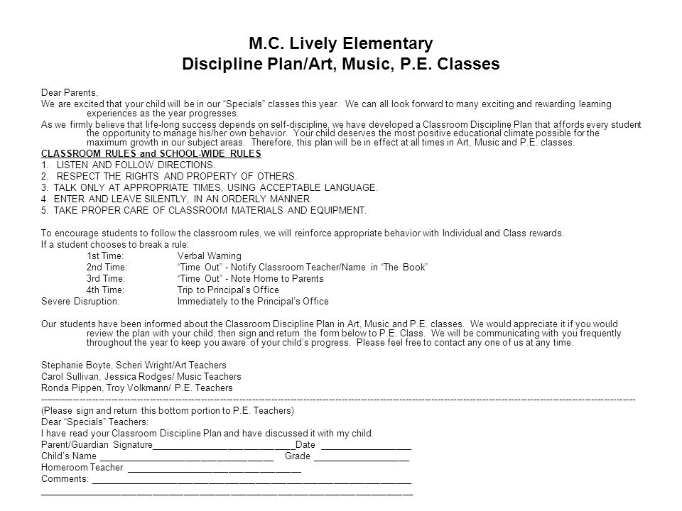 M.C. Lively Elementary Discipline Plan/Art, Music, P.E. Classes