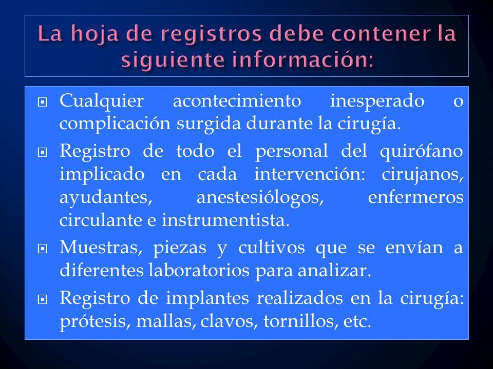 La hoja de registros debe contener la siguiente información: