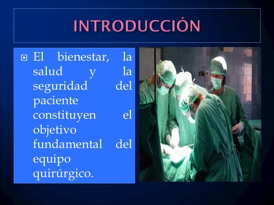 INTRODUCCIÓN El bienestar, la salud y la seguridad del paciente constituyen el objetivo fundamental del equipo quirúrgico.
