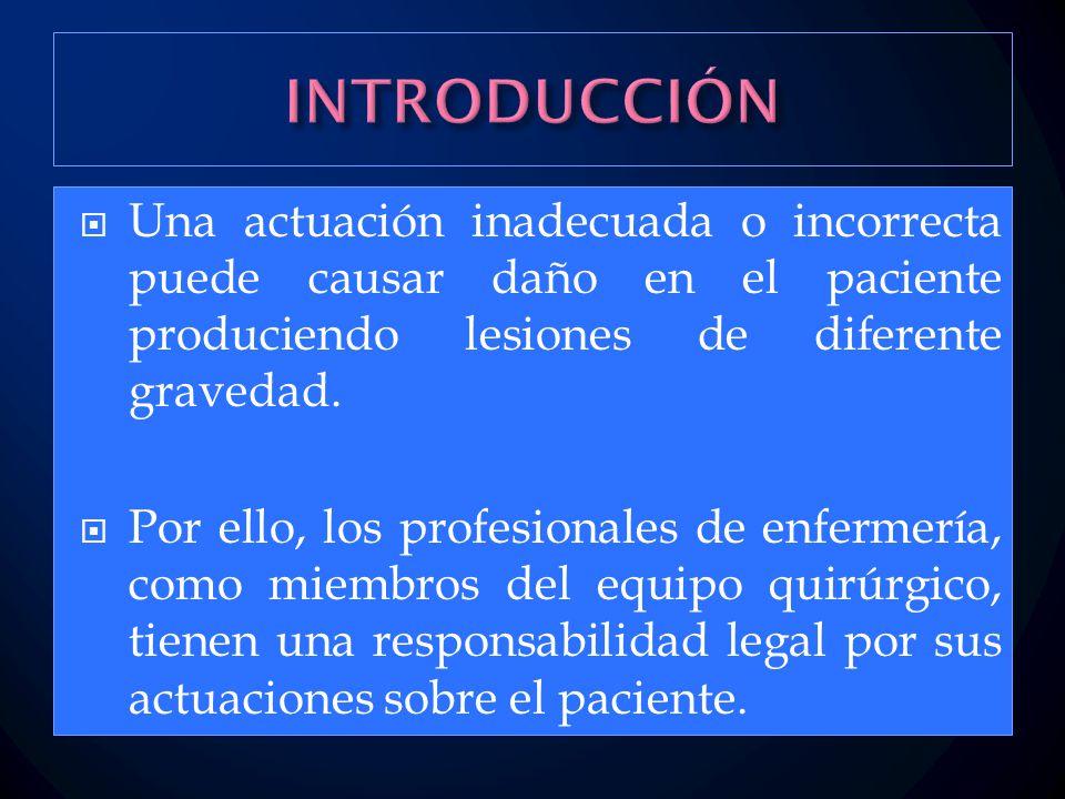 INTRODUCCIÓN Una actuación inadecuada o incorrecta puede causar daño en el paciente produciendo lesiones de diferente gravedad.