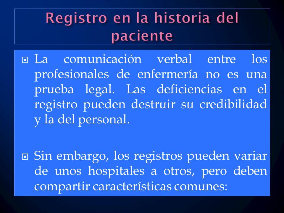 Registro en la historia del paciente