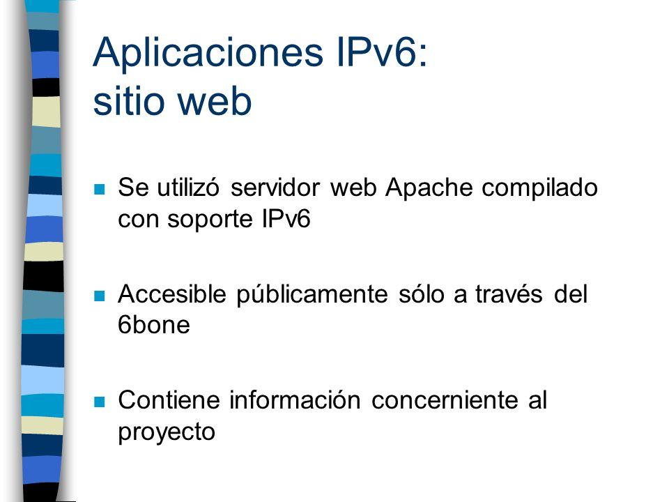 Aplicaciones IPv6: sitio web