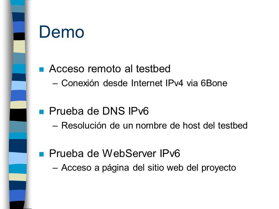 Demo Acceso remoto al testbed Prueba de DNS IPv6