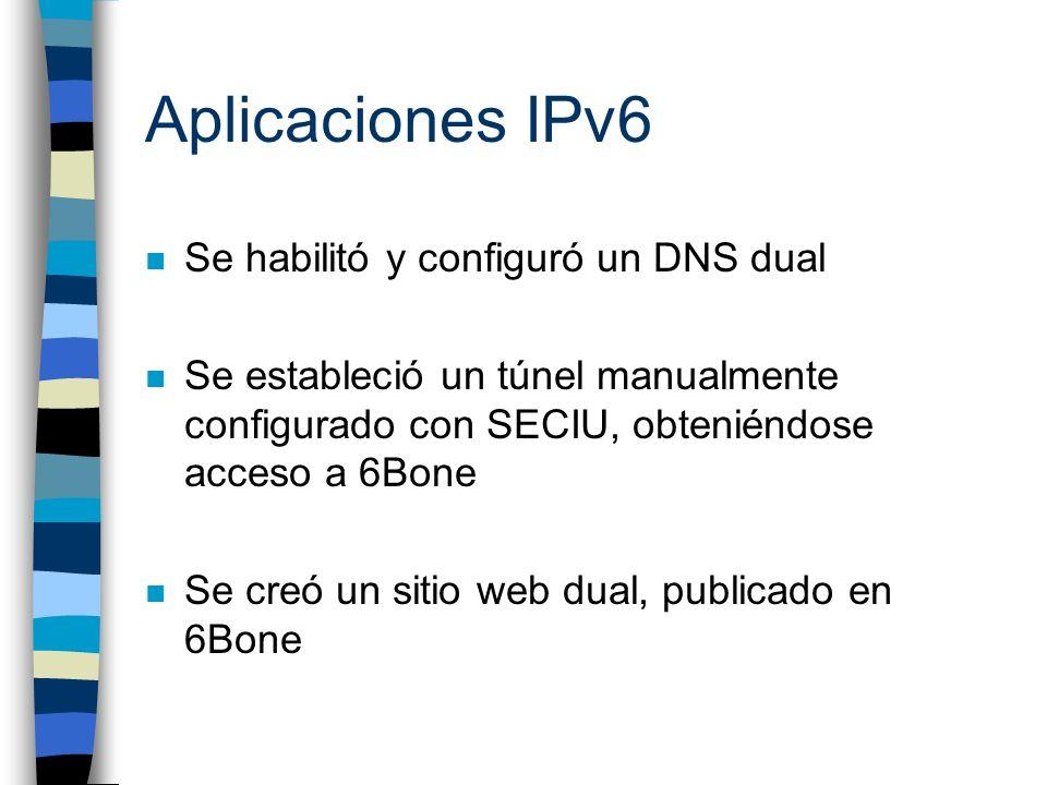 Aplicaciones IPv6 Se habilitó y configuró un DNS dual