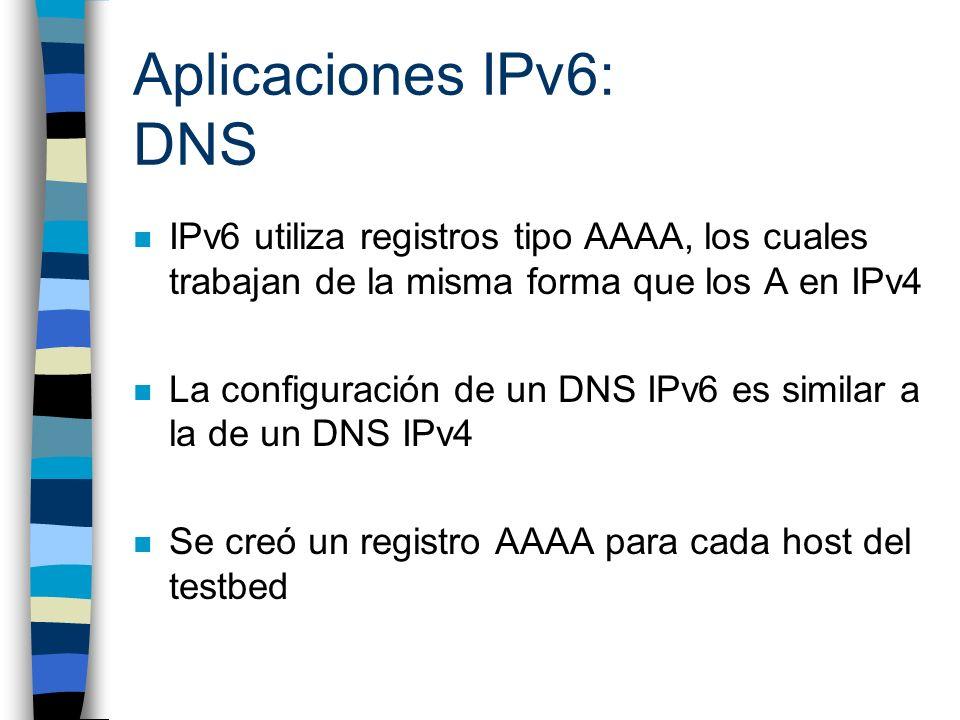 Aplicaciones IPv6: DNS IPv6 utiliza registros tipo AAAA, los cuales trabajan de la misma forma que los A en IPv4.