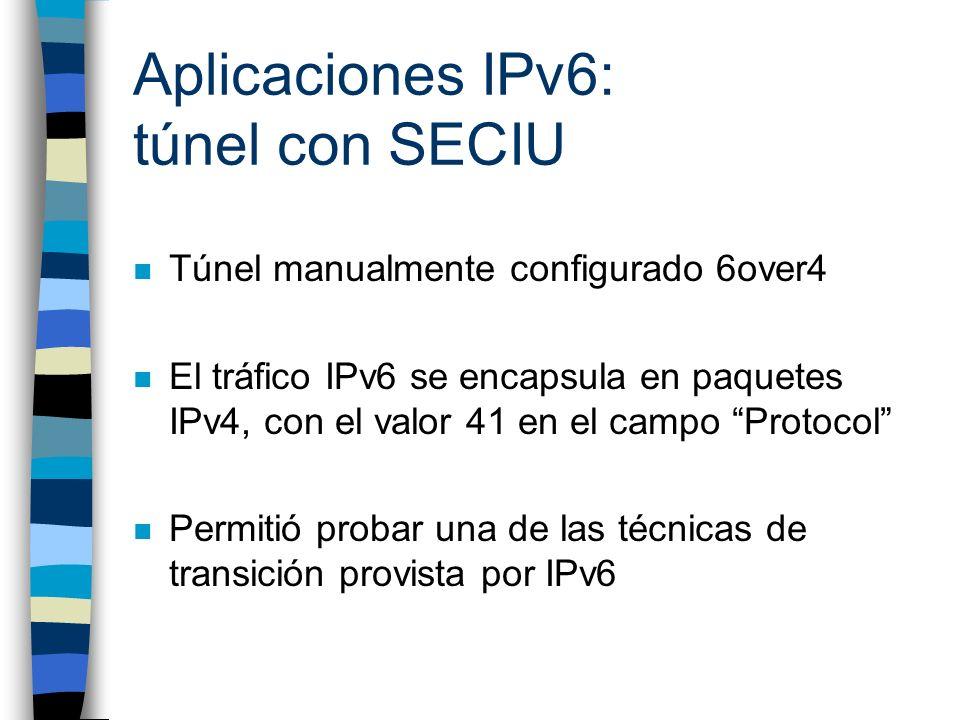 Aplicaciones IPv6: túnel con SECIU