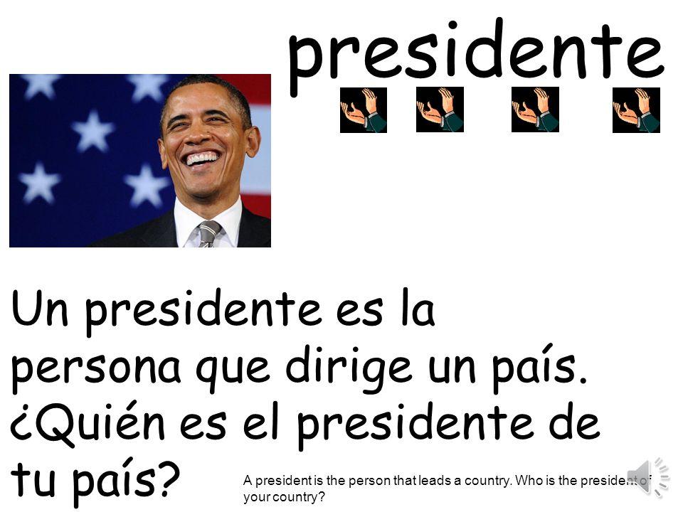 presidente Un presidente es la persona que dirige un país.