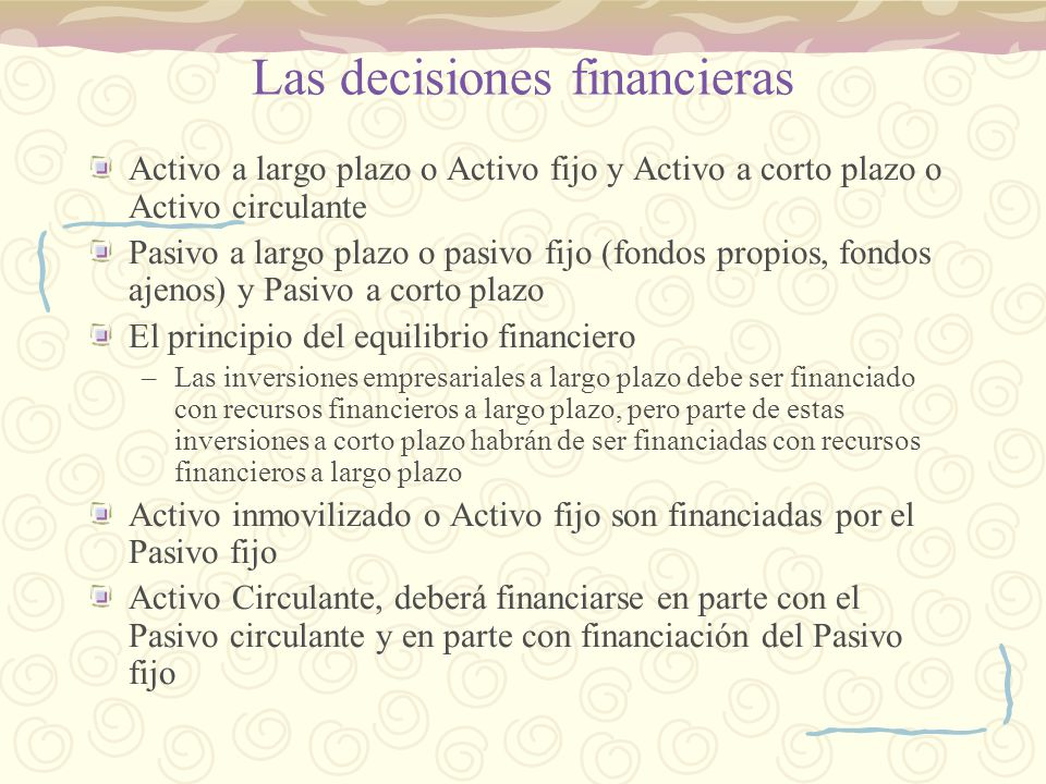 Las decisiones financieras