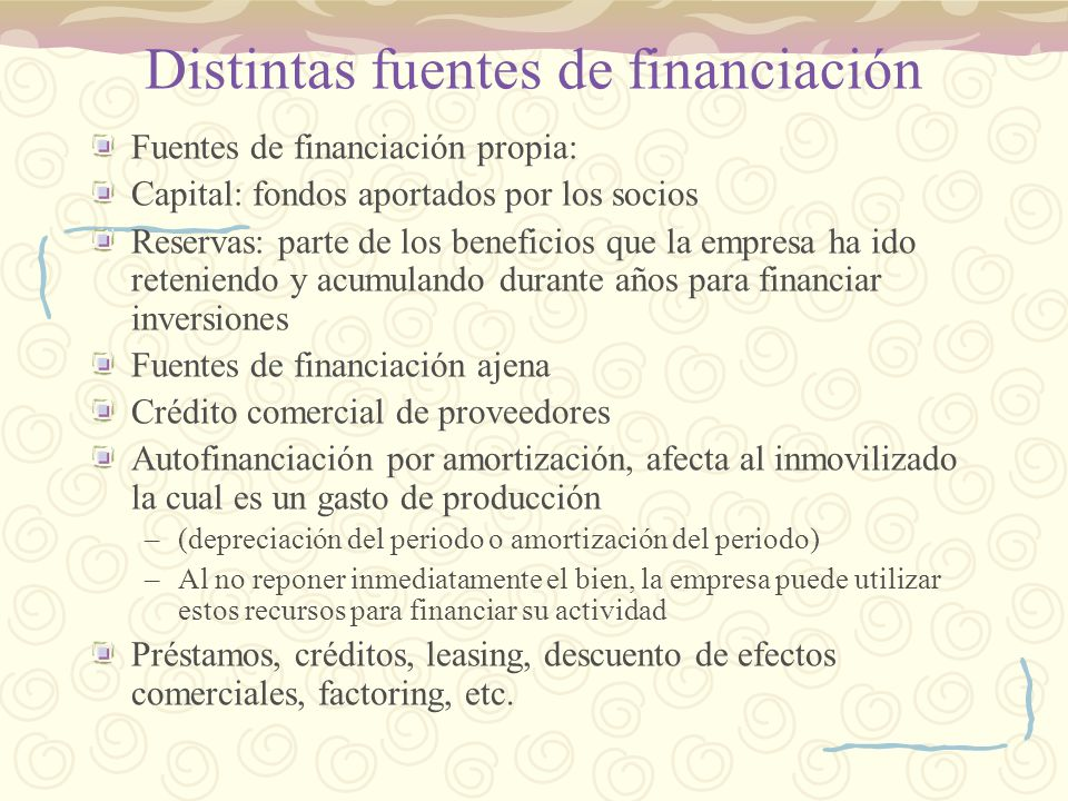 Distintas fuentes de financiación