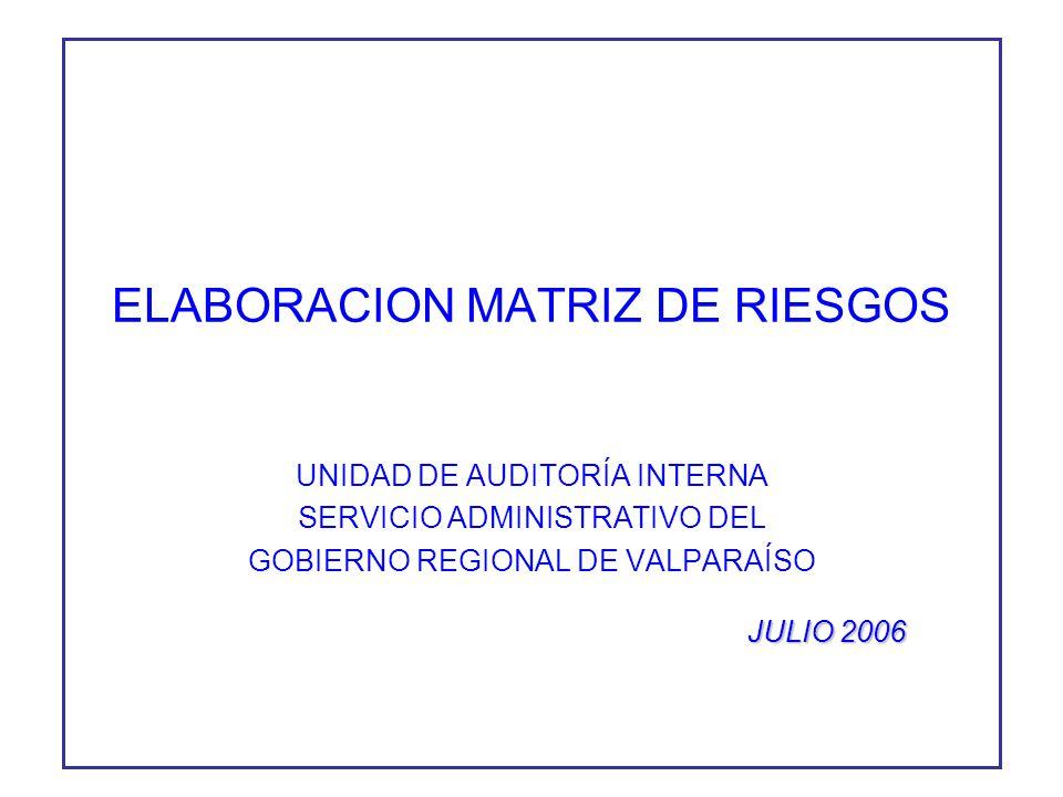 ELABORACION MATRIZ DE RIESGOS