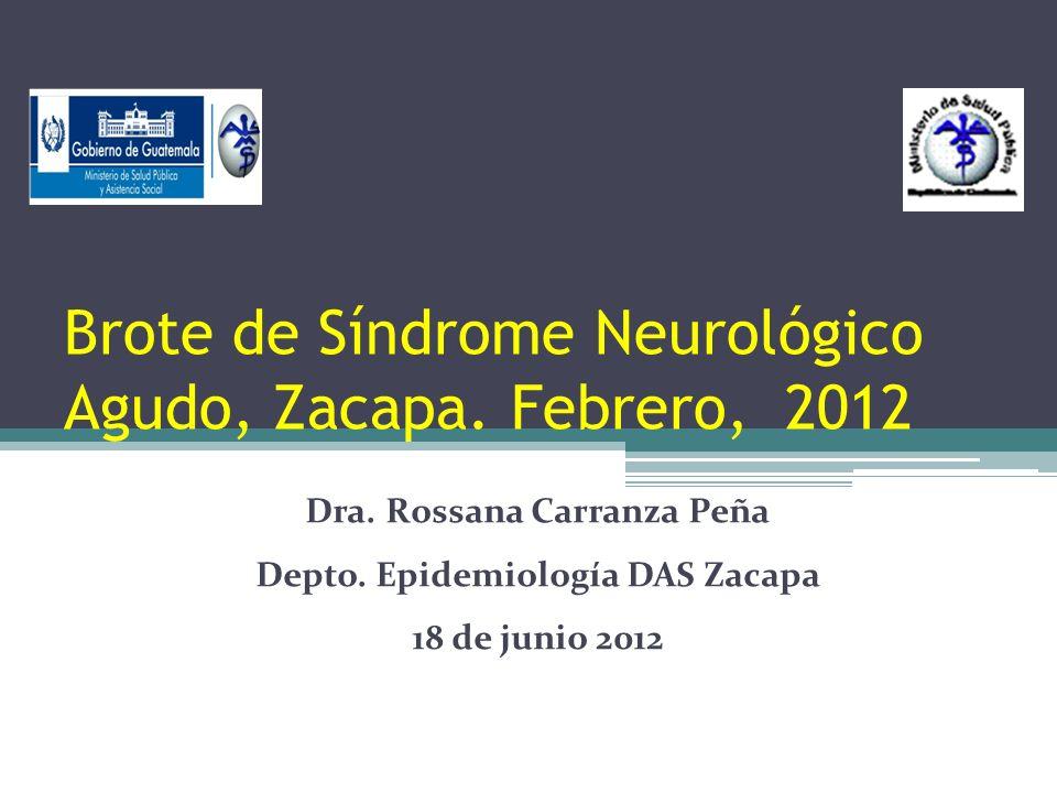 Brote de Síndrome Neurológico Agudo, Zacapa. Febrero, 2012