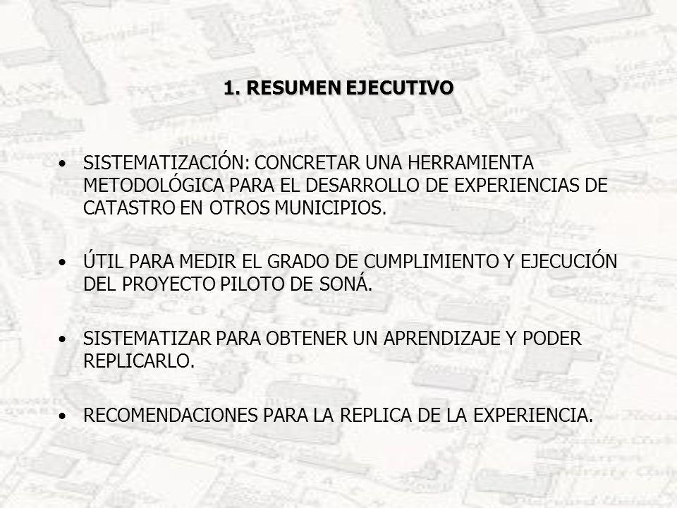1. RESUMEN EJECUTIVOSISTEMATIZACIÓN: CONCRETAR UNA HERRAMIENTA METODOLÓGICA PARA EL DESARROLLO DE EXPERIENCIAS DE CATASTRO EN OTROS MUNICIPIOS.