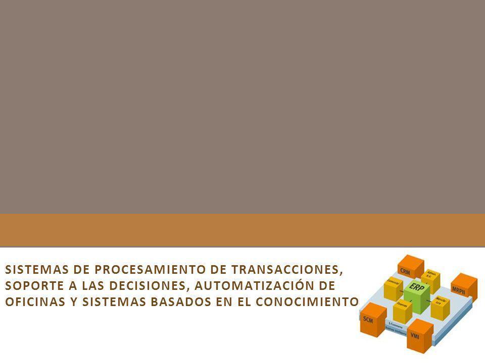 SISTEMAS DE PROCESAMIENTO DE TRANSACCIONES, SOPORTE A LAS DECISIONES, AUTOMATIZACIÓN DE OFICINAS Y SISTEMAS BASADOS EN EL CONOCIMIENTO