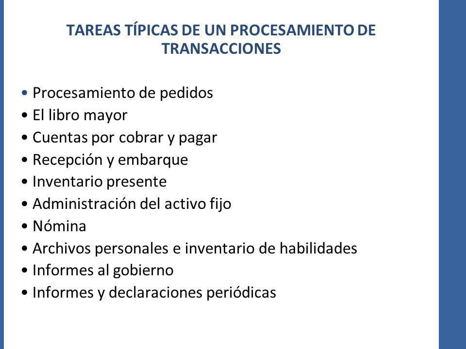 TAREAS TÍPICAS DE UN PROCESAMIENTO DE TRANSACCIONES