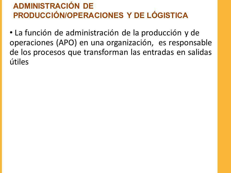 ADMINISTRACIÓN DE PRODUCCIÓN/OPERACIONES Y DE LÓGISTICA
