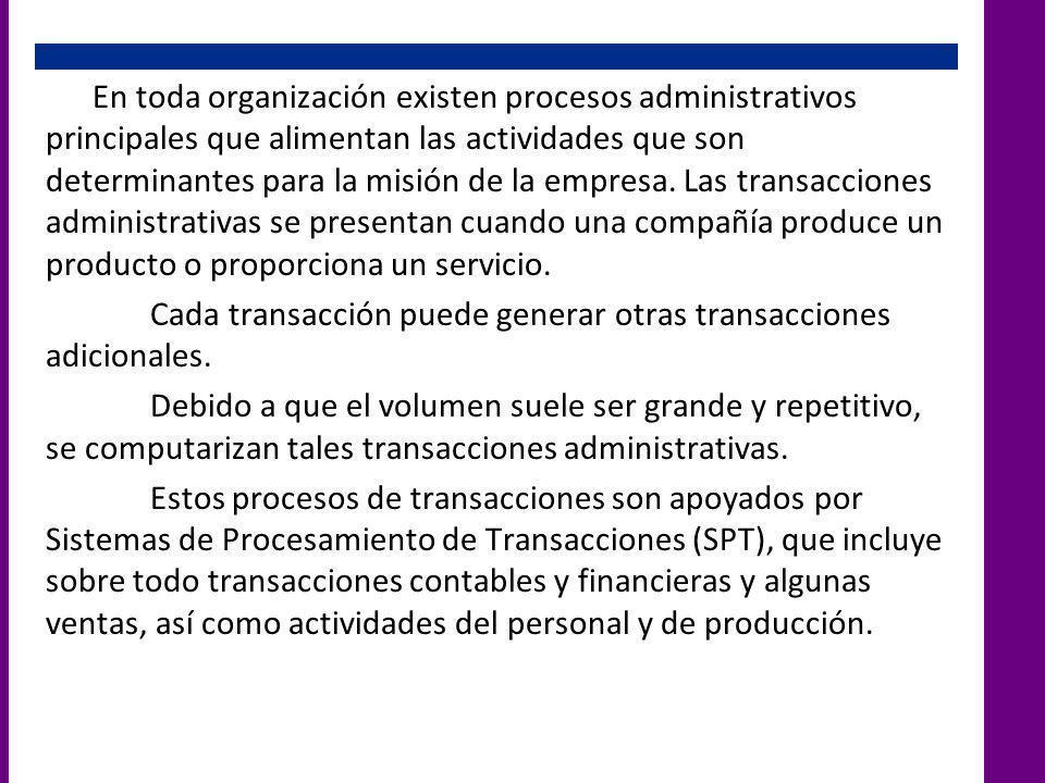 En toda organización existen procesos administrativos principales que alimentan las actividades que son determinantes para la misión de la empresa.