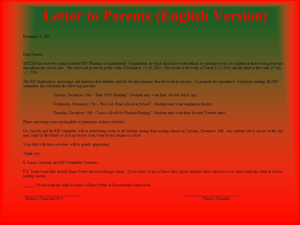 Letter to Parents (English Version)