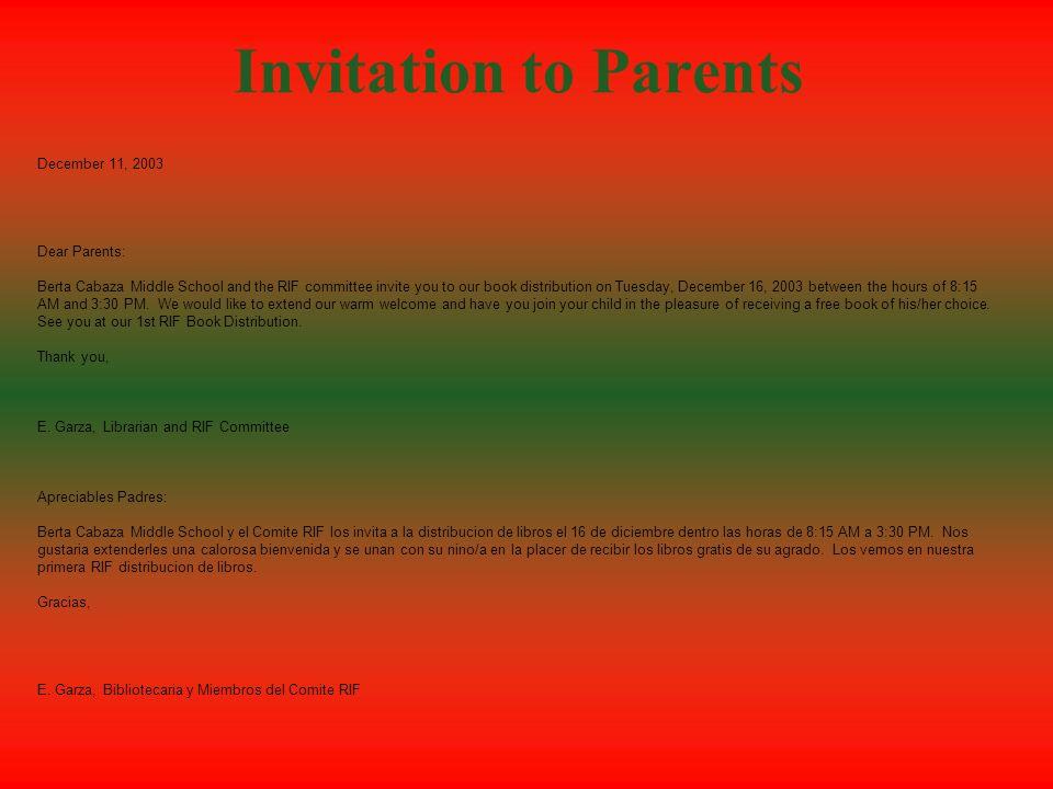 Invitation to Parents December 11, 2003 Dear Parents:
