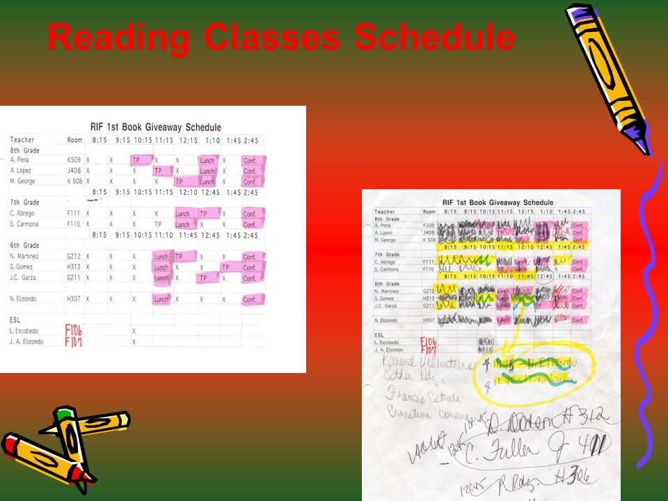 Reading Classes Schedule