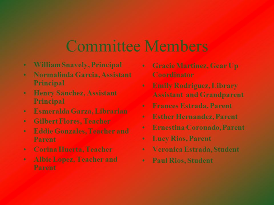 Committee Members William Snavely, Principal