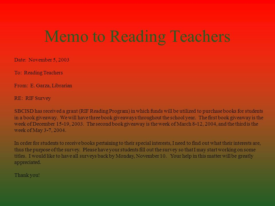 Memo to Reading Teachers