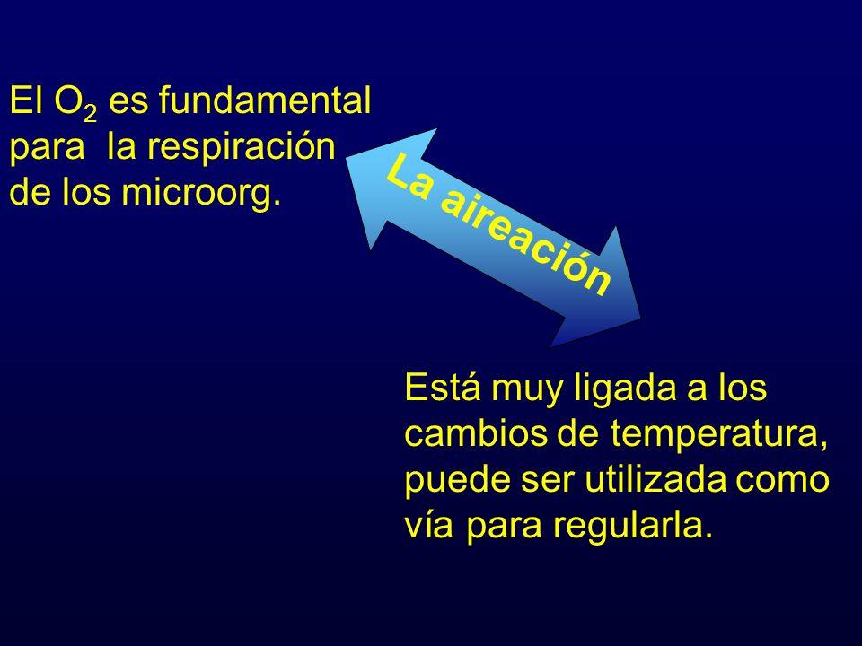 La aireación El O2 es fundamental para la respiración de los microorg.