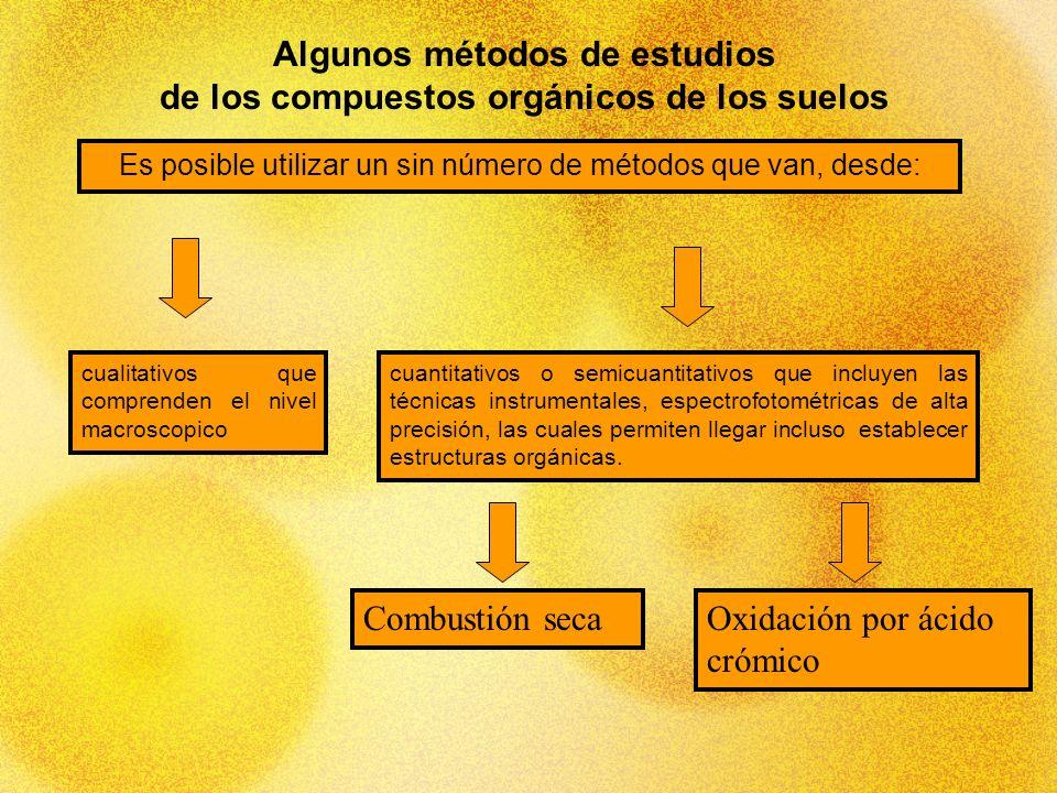 Algunos métodos de estudios de los compuestos orgánicos de los suelos