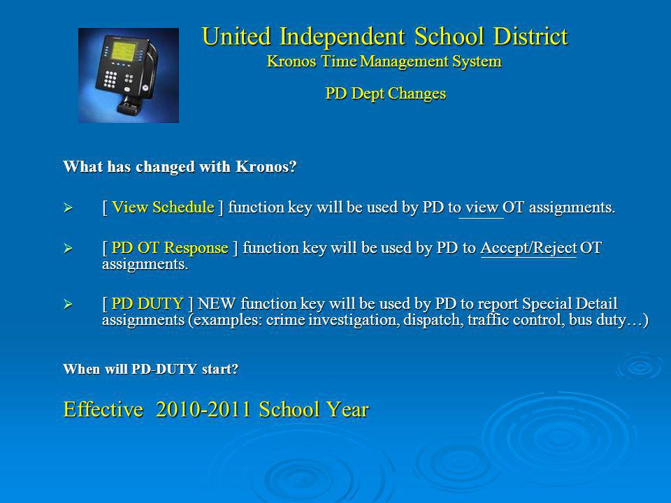 United Independent School District Kronos Time Management System