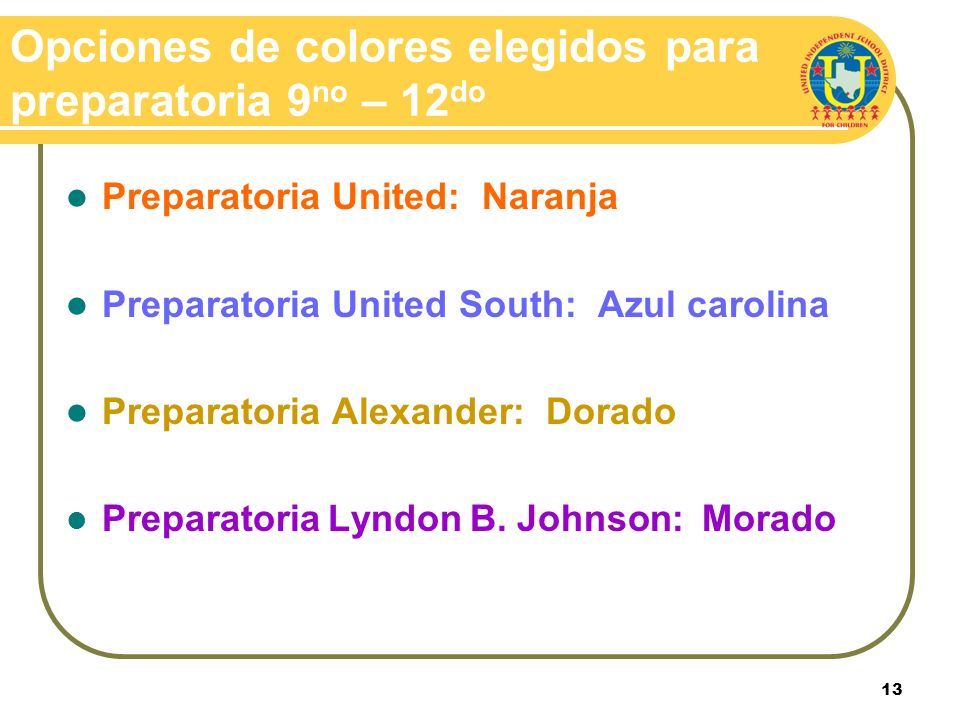 Opciones de colores elegidos para preparatoria 9no – 12do
