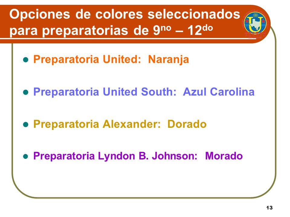 Opciones de colores seleccionados para preparatorias de 9no – 12do