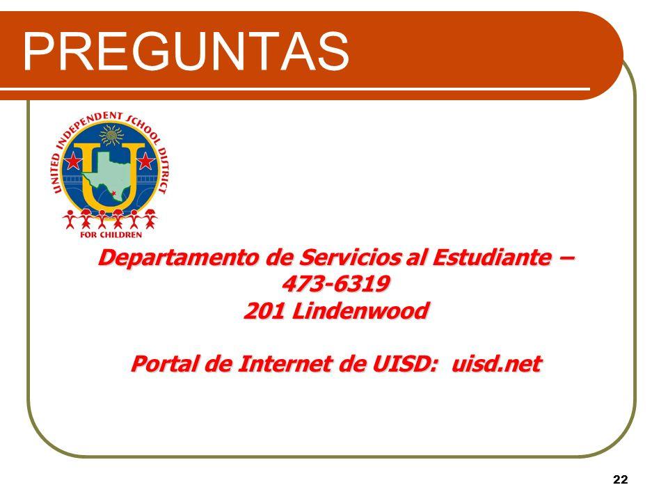 PREGUNTAS Departamento de Servicios al Estudiante – 473-6319