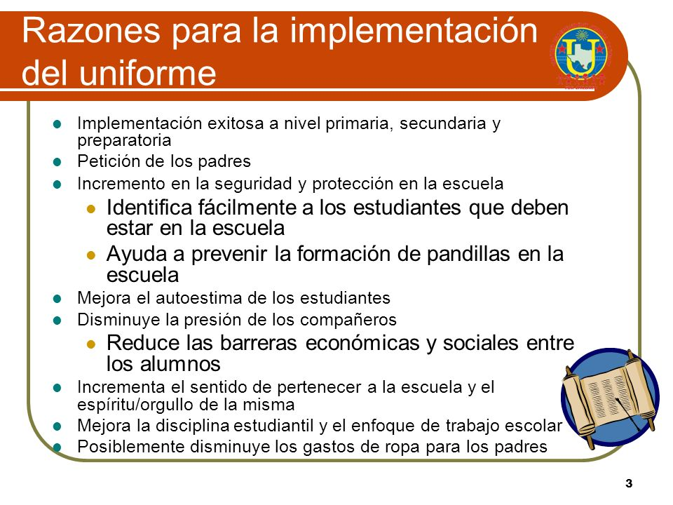 Razones para la implementación del uniforme