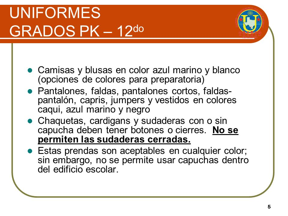 UNIFORMES GRADOS PK – 12do