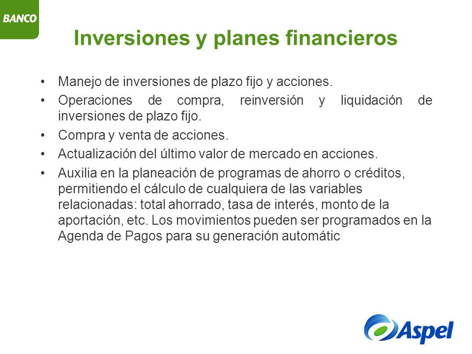 Inversiones y planes financieros