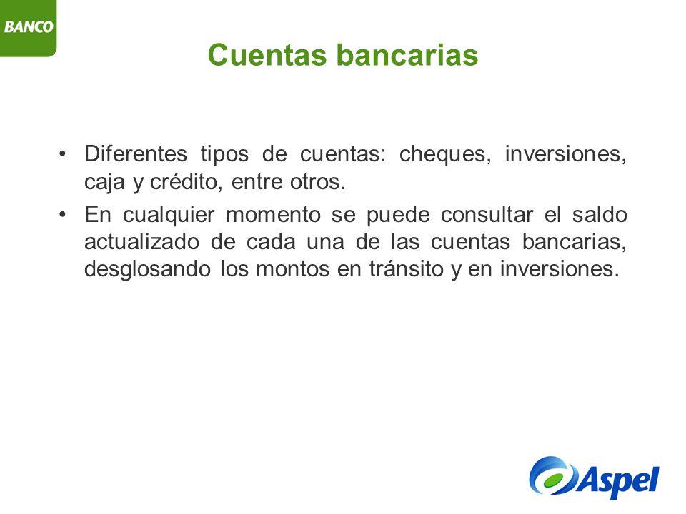 Cuentas bancarias Diferentes tipos de cuentas: cheques, inversiones, caja y crédito, entre otros.