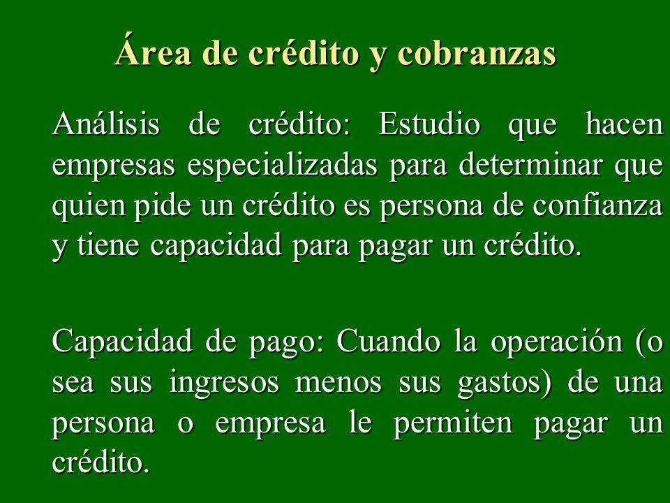 area de creditos y cobranzas de una empresa