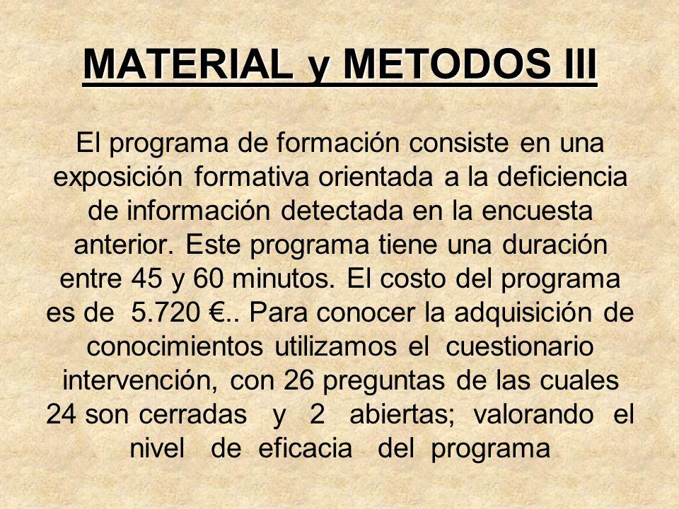 MATERIAL y METODOS III