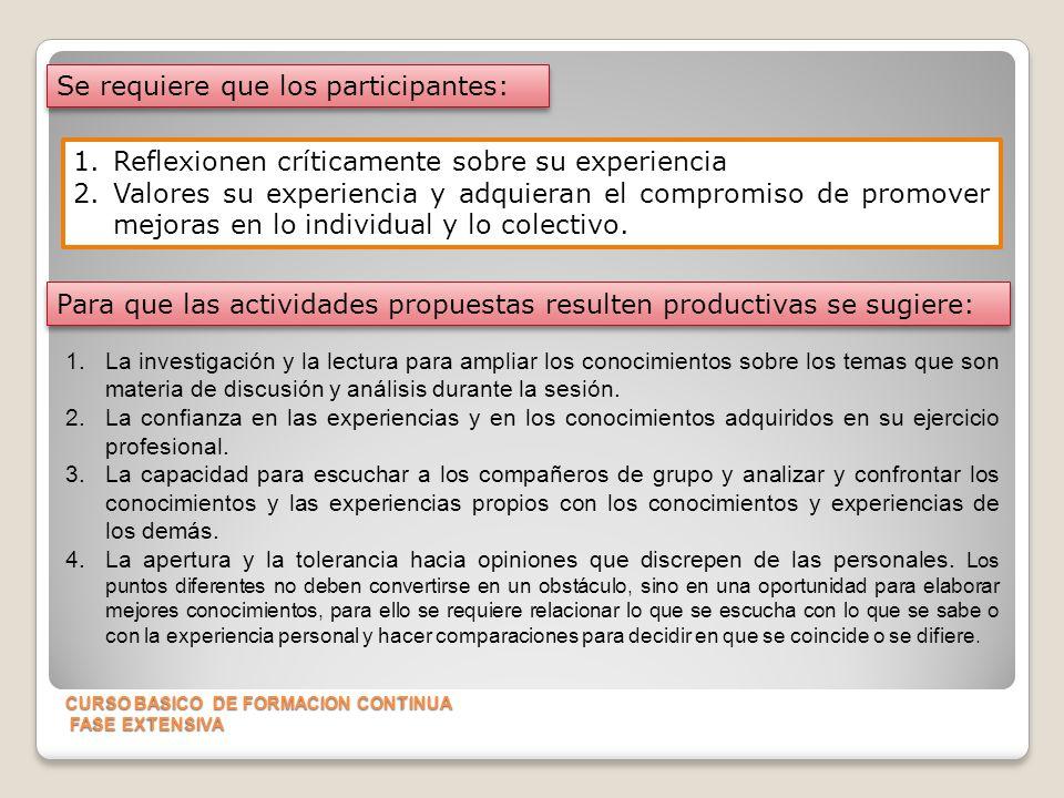 CURSO BASICO DE FORMACION CONTINUA FASE EXTENSIVA