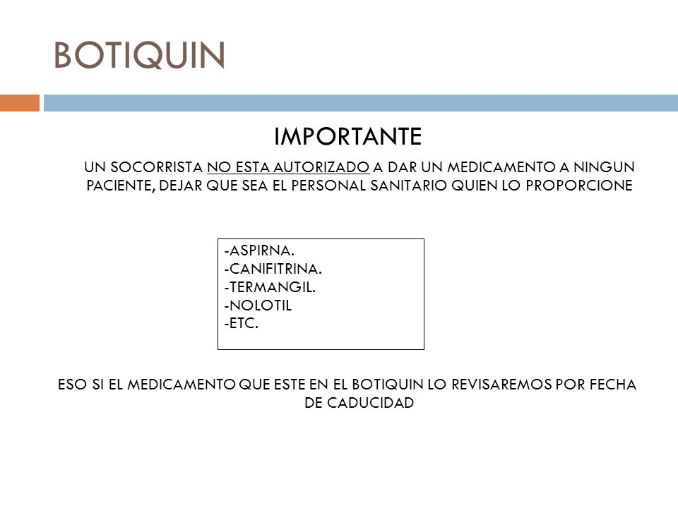 BOTIQUIN IMPORTANTE.