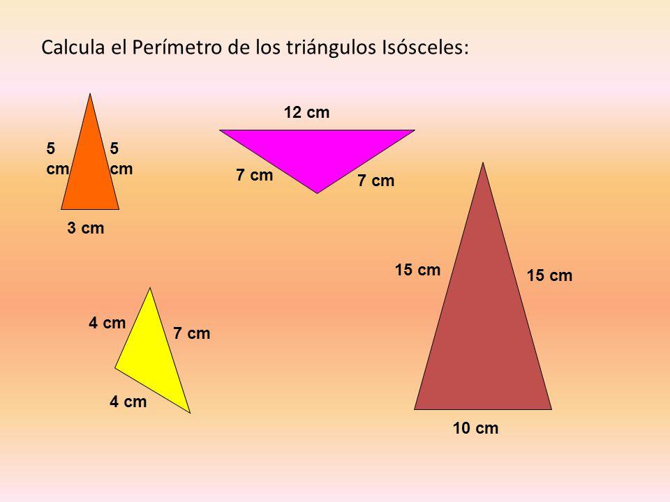 Calcula el Perímetro de los triángulos Isósceles: